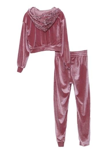 Silversun Kids Kız Çocuk Pul Payetli Kapüşonlu Sweatshirt Sweatpant Takım - Kt 318519 Pembe